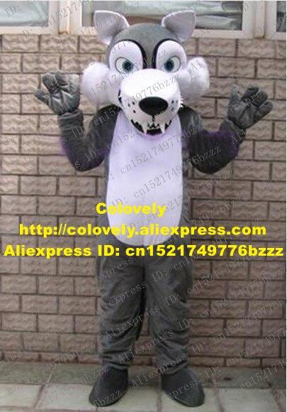 Lebendige Grau Coyote Wolf Maskottchen Kostüm Mascotte Mit Weiß Sharp Zähne Große Schwarze Nase Weiß Bauch Erwachsene Größe No.1142 Freies schiff