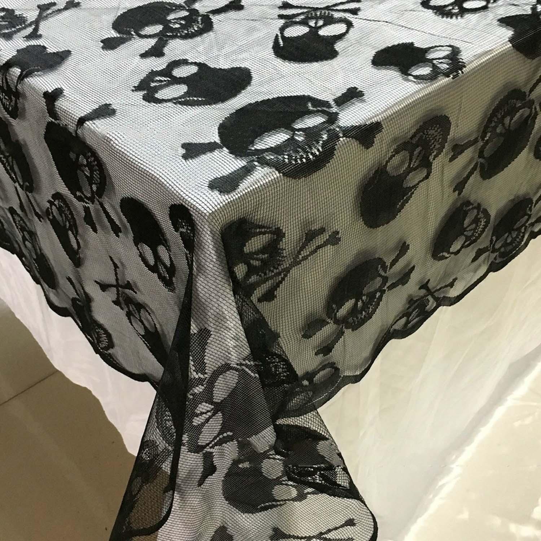 Decoración de Halloween Behogar, mantel negro de encaje de estilo de calavera para mesa, PARA CENA mantel, fiesta, película de miedo, decoración de noches