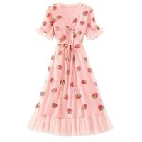 women strawberry sequin beading mesh sweet puff sleeve long dresses sweet bow tie gauze midi ruched ruffle dress summer 2021 new