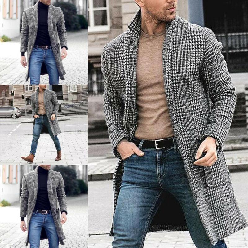 Chaqueta larga de abrigo gruesa con cuello a cuadros y mezcla de lana informal británica para hombre gabardina prendas de vestir cálidas de invierno