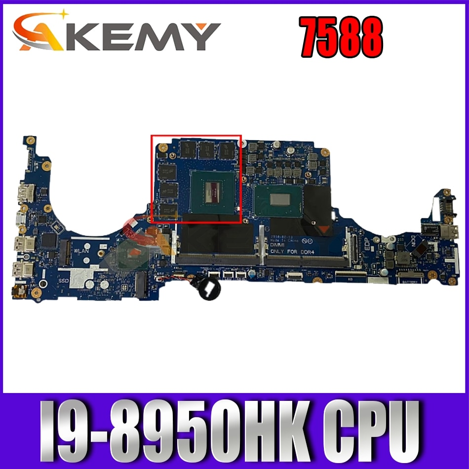 Akemy MP7CD 7588 اللوحة الأم لأجهزة الكمبيوتر المحمول ديل انسبايرون 7588 اللوحة الرئيسية LA-994P وحدة المعالجة المركزية I9-8950HK PM DDR4 اختبار كامل 100%
