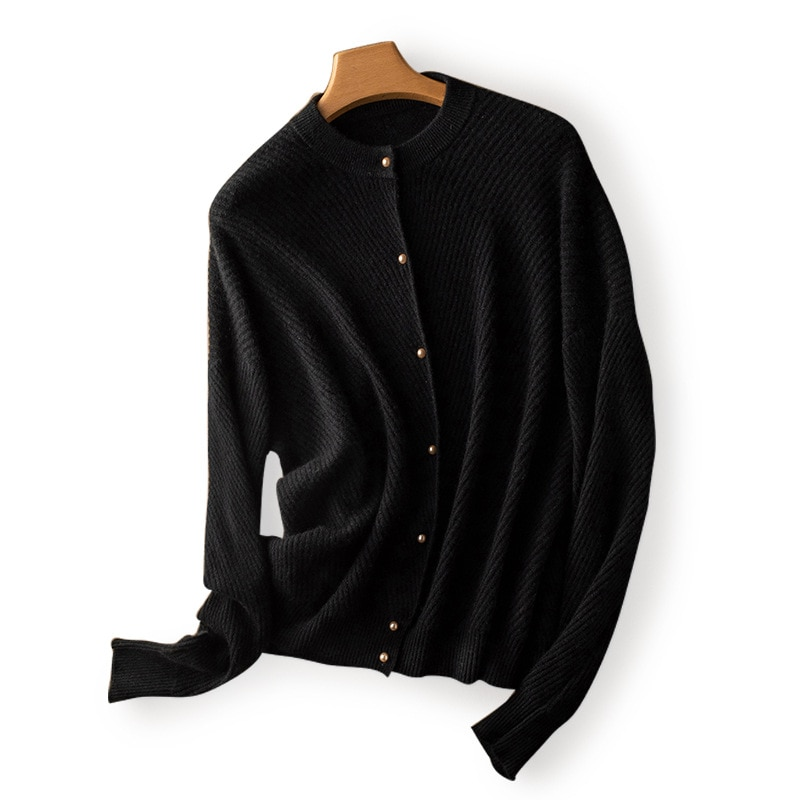 SHUCHAN Cute Cardigan Women100% Wool Single Breasted  Thick Single Breasted  Woman Sweaters Fashion Vintage enlarge