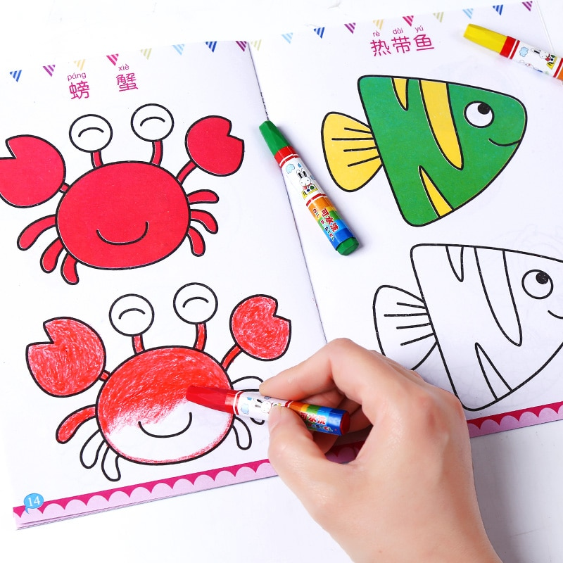 New 12pcs/set Children Kid Cute Stick figure Children's drawing book coloring books easy to learn drawing book libros kids book