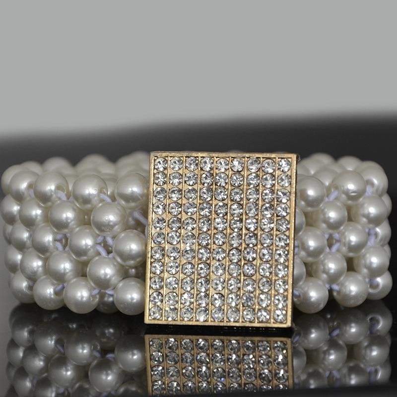 Fashion Waist Elastic Buckle Pearl Diamond Belts For Women Strap Female Belt Accessories Dress Cintos Mujer Crystal Women Belt