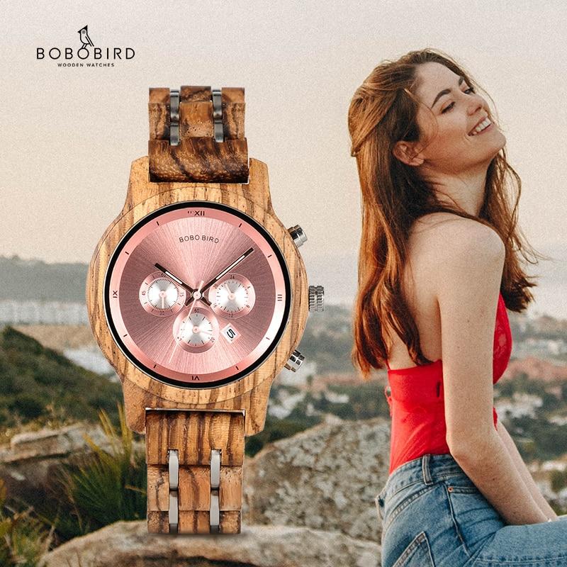 BOBO BIRD-ساعة خشبية بسيطة للنساء ، حركة كوارتز ، مخصصة ، هدية رائعة مع صندوق خشبي
