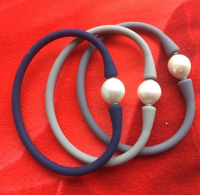 Mucho Multicolor de caucho de silicona pulsera blanca cultivada de agua dulce perla Kasumi por favor, elección de color