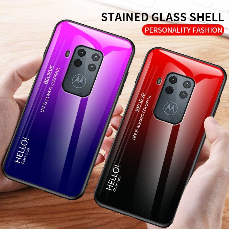 Para Motorola Moto One Zoom funda de moda de vidrio templado duro de lujo gradiente funda protectora trasera para Moto One Zoom
