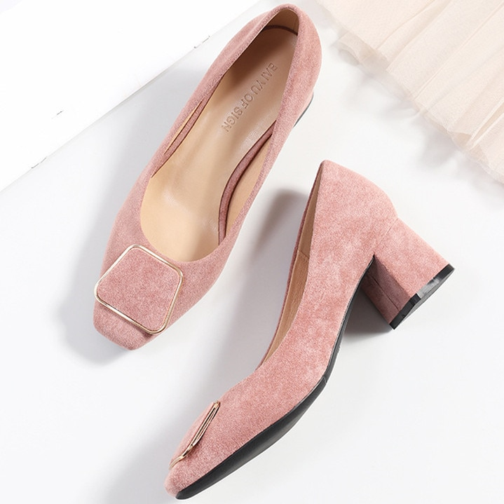 Spring Autumn Fashion Women's Pumps Shoes Woman Flock Leather Square High Heels Shoes Lady Casual Co