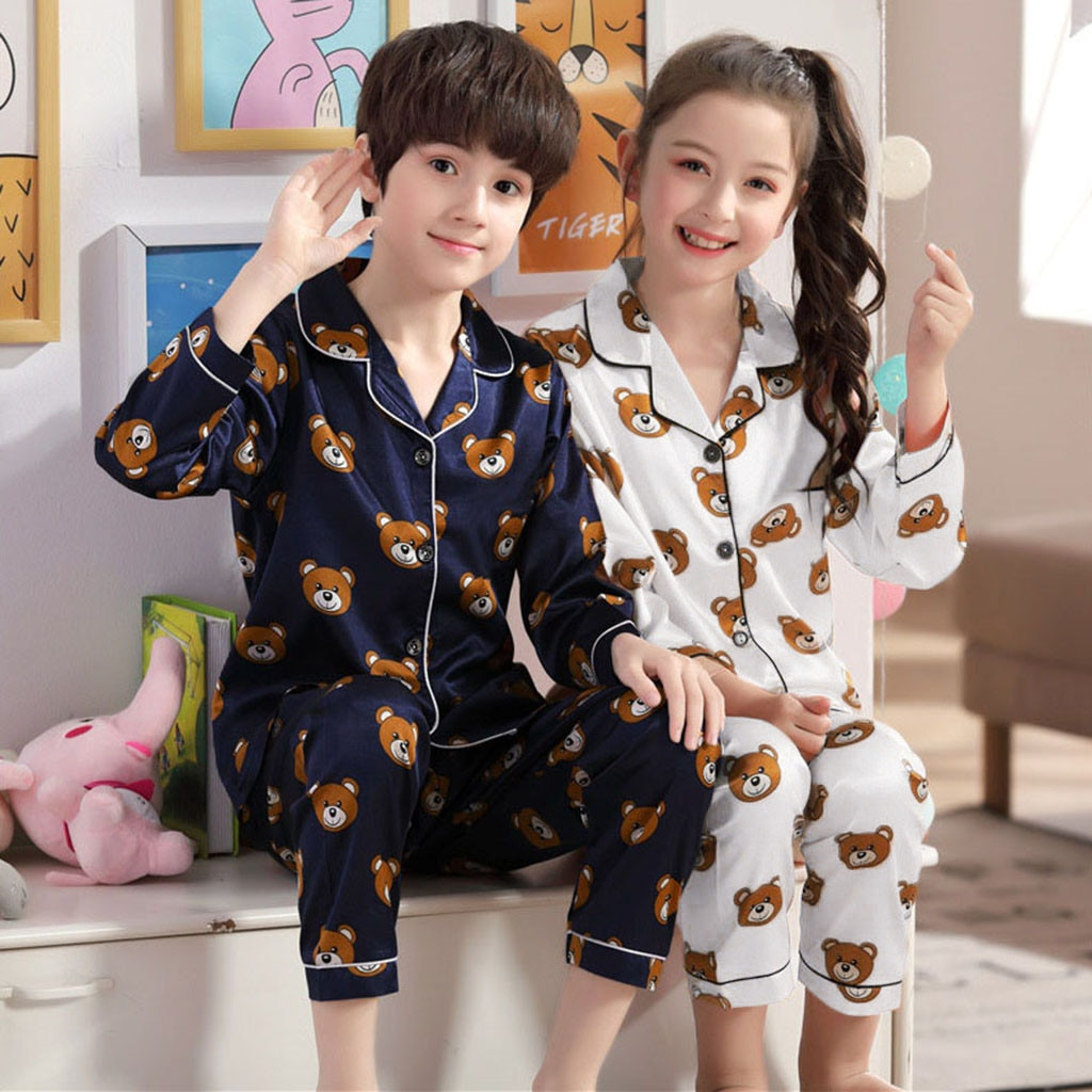 Niño pequeño recién nacido niños de manga larga de dibujos animados oso Tops + Pantalones pijamas estampado Pijama chándal conjunto L1129