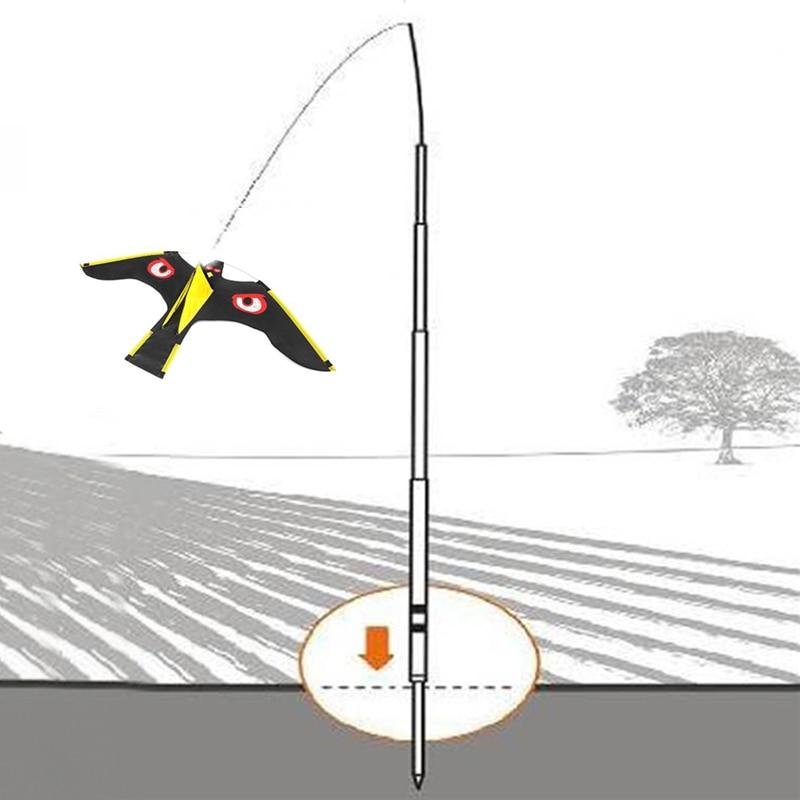 Repelente de Aves para Jardim Kite com 5m Conjunto Falcão Haste-emulação Voando Pássaro Scarer Condução Espantalho Quintal Repelente 1