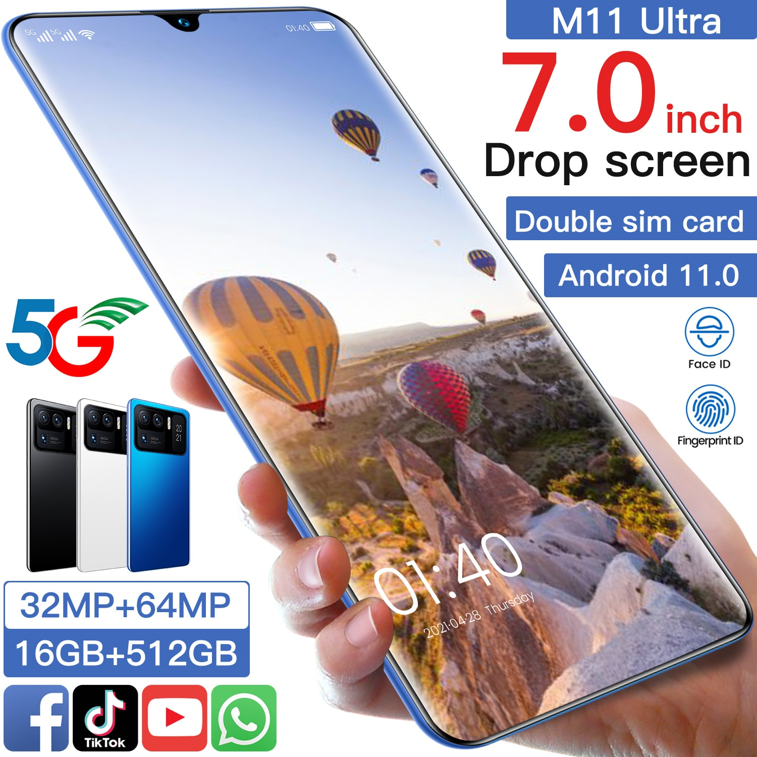 New Arrival XIAOM11 Ultra 5G Mobile Cell Phone 7.0Inch 16+512GB MT6893 Deca Core Finger Face ID 32MP+64MP 7200MAH Dual SIM Card