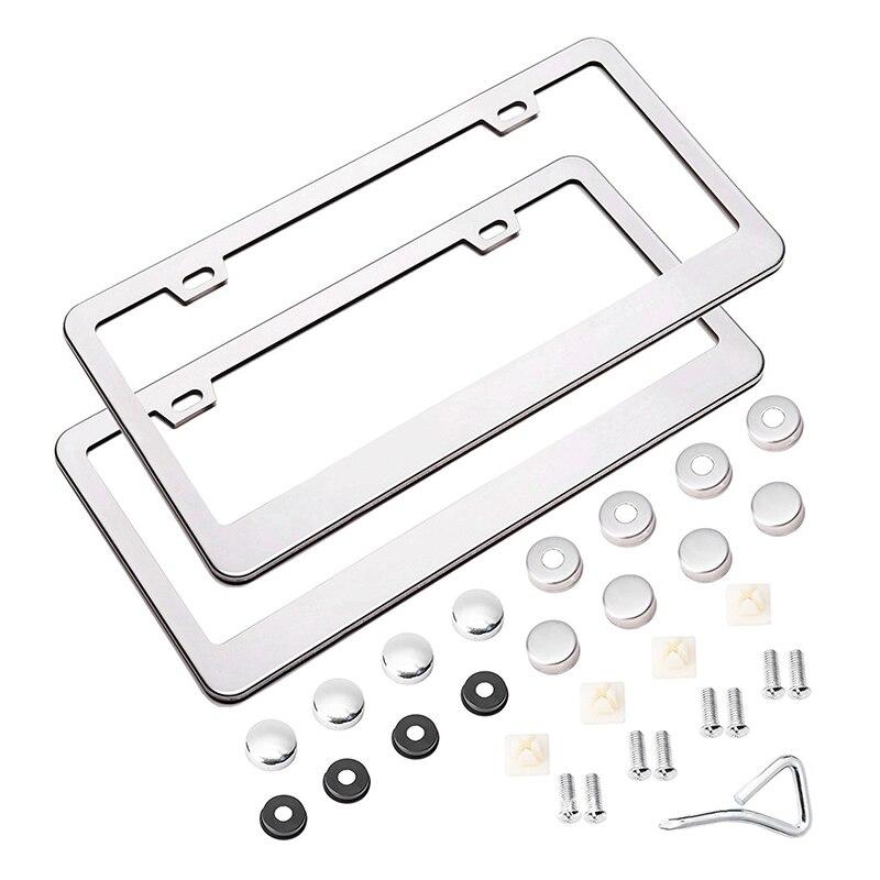 Kit de cubiertas de marco para matrícula de coche de acero inoxidable con tornillos solo para coches