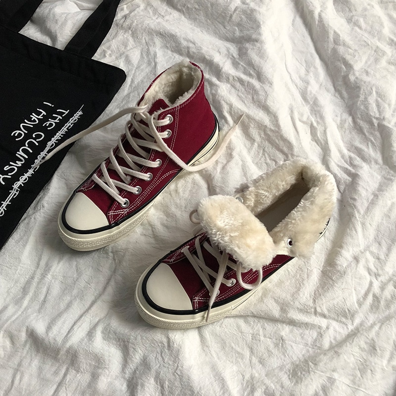 Size 35-44 Unisex Winter Shoes Thick Fur Inside Warm Sneakers Boys Girls Sneakers Pure Color Gumshoe