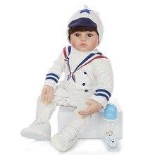 60 cm réaliste Reborn poupées doux Silicone vinyle bébé garçon poupée Cosplay marine uniforme jouet pour enfant cadeau danniversaire jouer maison Boneca