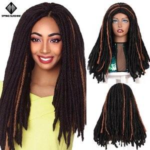 Spring sunshine 18 Inch Synthetic Dreadlocks Wigs Crochet Braids Soft Dread Faux Locs Hairstyle Long Afro For Black Women/Men