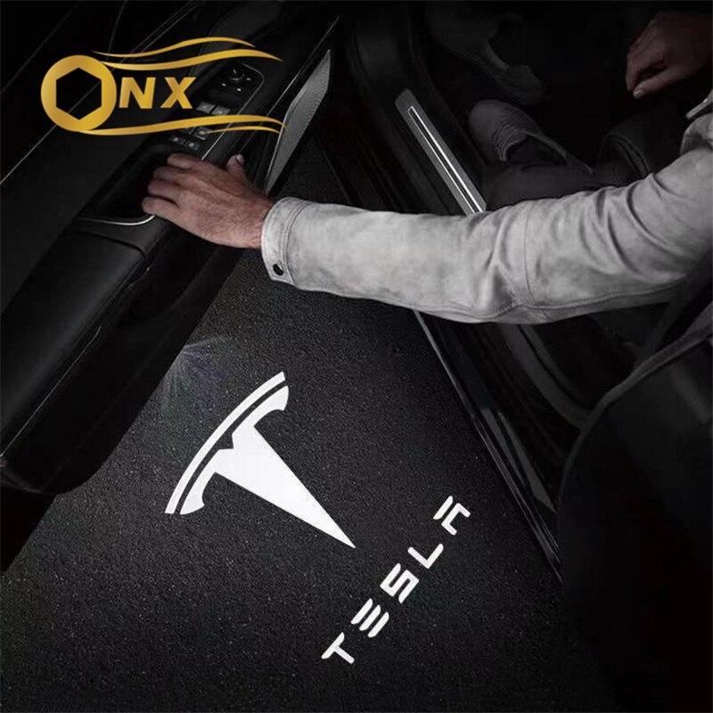 Автомобильный приветственный свет s модифицированный проекционный свет лазерный Автомобильный Дверной Декор Аксессуары для Tesla модели x/y м...