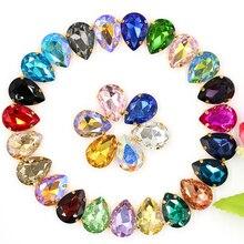 Pierre à coudre en verre avec Strass   Gros Strass, avec griffe dorée, pour bricolage, vêtements de noël, perles de bijoux de décoration de vêtement