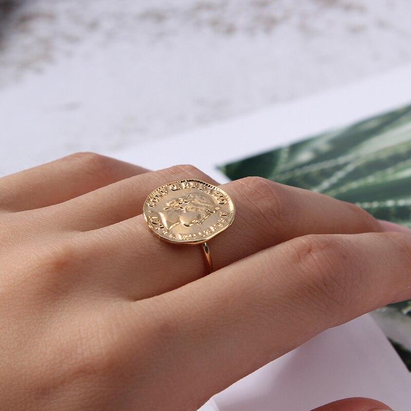 Rétro reine Elizabeth rond anneau ouvert or cuivre visage paix Dollar pièce anneau ouvert pour les femmes bijoux livraison directe