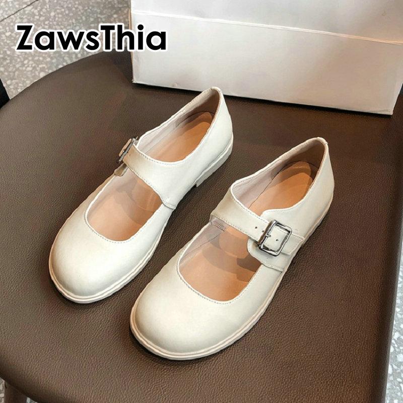 ZawsThia 2020 primavera otoño cuero genuino piel de oveja dentro de mujer blanca zapatos casuales hebilla lolita niñas baile mary janes zapatos