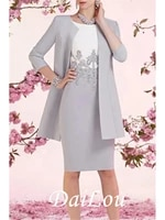 sheath column mother of the bride dress wrap included jewel neck knee length satin 34 length sleeve with appliques 2021