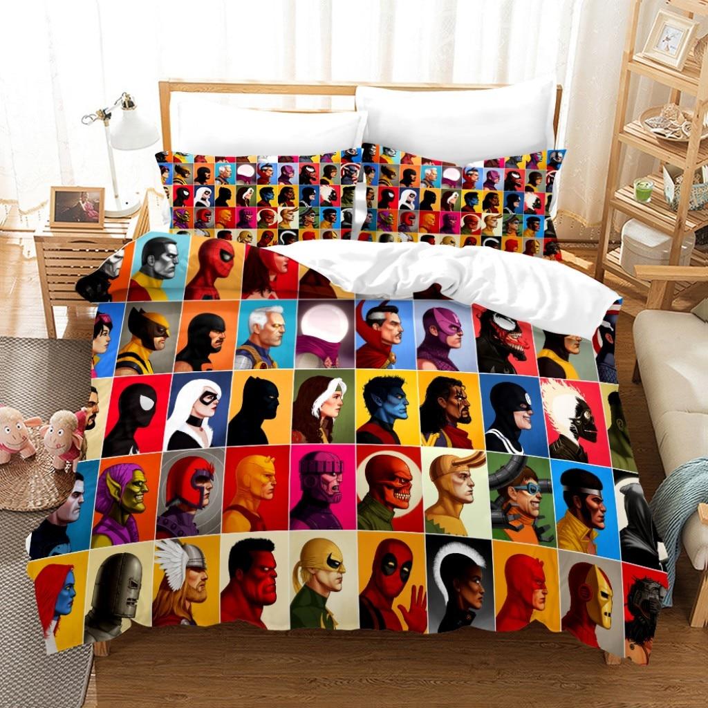 المنسوجات المنزلية ديزني ثلاثية الأبعاد المطبوعة الفراش الرجل الحديدي كابتن أمريكا سبايدرمان نمط حاف لحاف المخدة الأولاد ديكور غرفة نوم