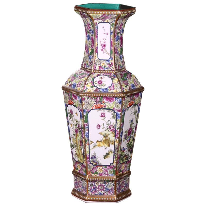 Vaso de Cerâmica Arranjo da Sala de Artesanato em Cerâmica Jingdezhen Antigo Grande Vaso Chão Clássico Chinês Arranjo