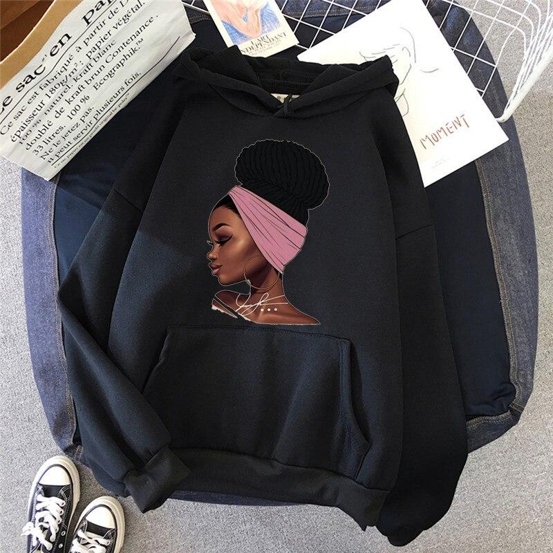 Черные женские толстовки Melanin в африканском стиле, женские черные толстовки для девочек, волшебный свитшот, джемпер в стиле Харадзюку, кавай...