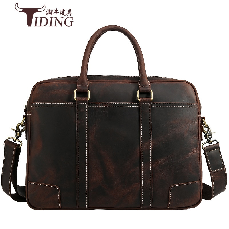 Man Travel Briefcase Bag Cow Leather Male Vintage Business Casual Hand Tote 17