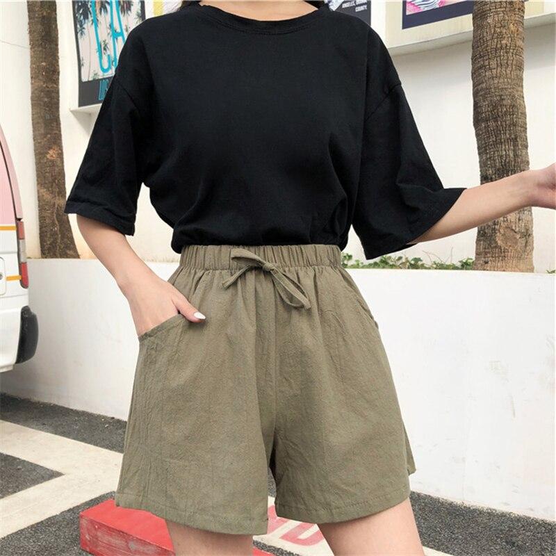 Cotton and Linen Wide-Leg Sports Shorts for Women 2020 Summer Outdoor Wear Home Leisure High Waist S