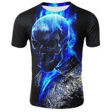 Hommes crâne t-shirts mode été à manches courtes fantôme cavalier Cool T-shirt 3D bleu crâne impression hauts Rock feu crâne T-shirt hommes