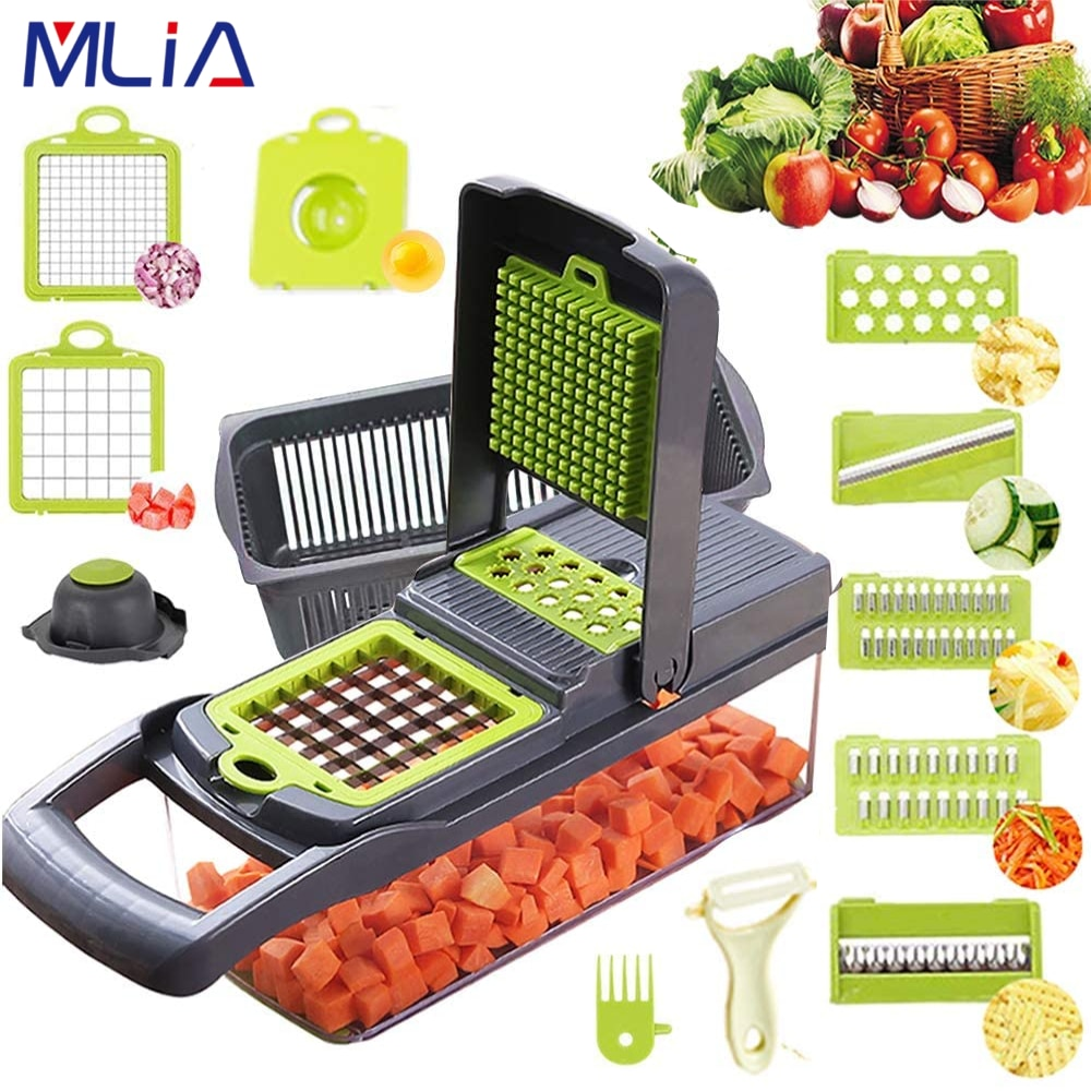 MLIA قطاعة الخضراوات المروحية تقطيع الفواكه أداة التقطيع مقشرة الثوم المروحية البطاطس الجزرة مبشرة سلطة صانع أدوات المطبخ