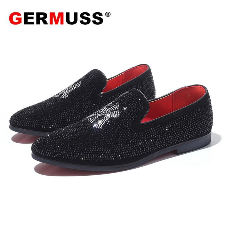 Germuss Men Dress Loafers Business Wedding Brand Men Shoes Breathable Style Banquet Sequin Black Mal