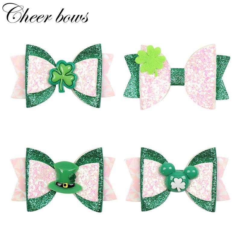 "2Pcs/Lot 3"" Baby Hair Clip St. Patricks Day Glitter Hair Bows Hairpins Shamrock Clover Children Barrette Hair Accessories"
