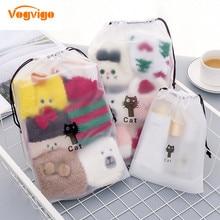 VOGVIGO 3 Sizes EVA Black Cat Drawstring Clothes Storage Bag Cartoon Animal Transparent Matte Dust-proof Travel Organizer Pouch