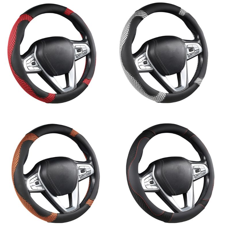 Protector para volante de coche antideslizante transpirable absorción de sudor piezas de automóvil E7CA