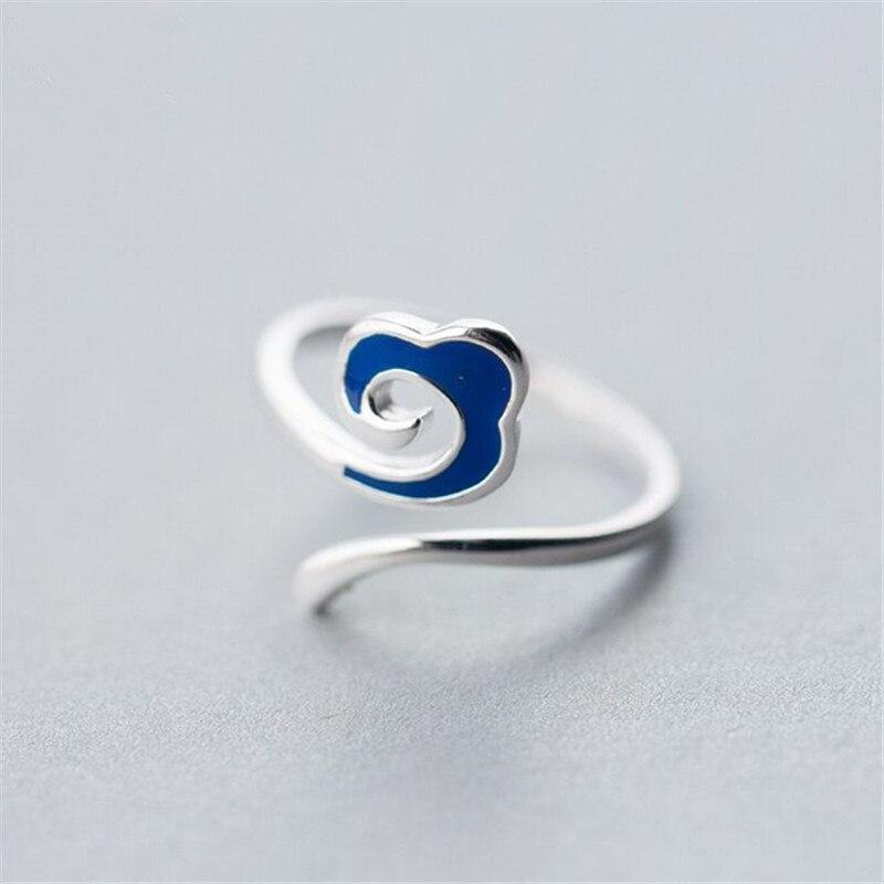 YIZIZAI New Fashion Blue Silver Color Cloud Ring for Women Men Unisex Hip Hop Adjustable Auspicious