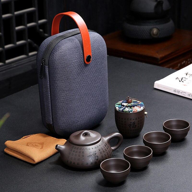 Portátil Kungfu set de té de oficina al aire libre uso Simple chino púrpura arena tazas de té con bolsa de envío gratis