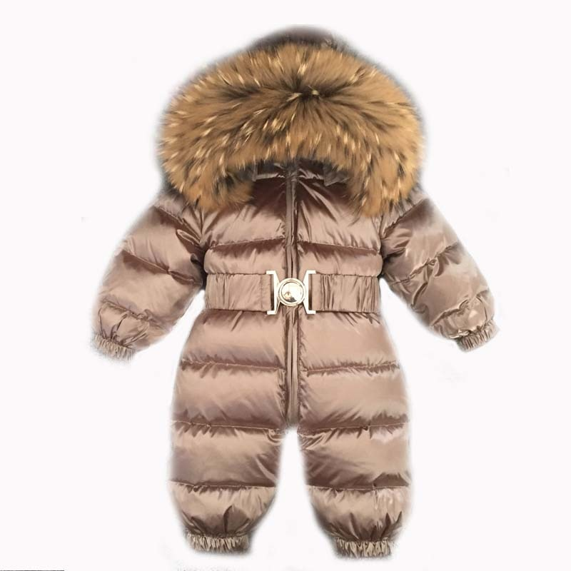 2021 Winter Warm Down Baby Boys Jumpsuits Hooded Real Fur Girls Rompers Long Sleeve Unisex Onesie Overalls Toddler Snowsuit