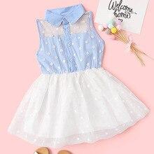 kids fashion dots dress stitchingNet yarn dress without sleeve Candy style dresses kids cute flower