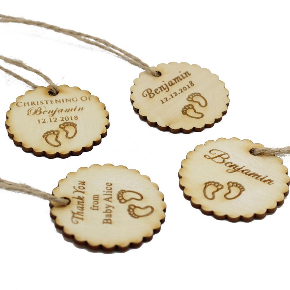 50 Uds. Etiquetas de madera grabadas personalizadas regalos de fiesta regalos decoración regalos de bebé baño bautismo regalos etiquetas favores de la boda