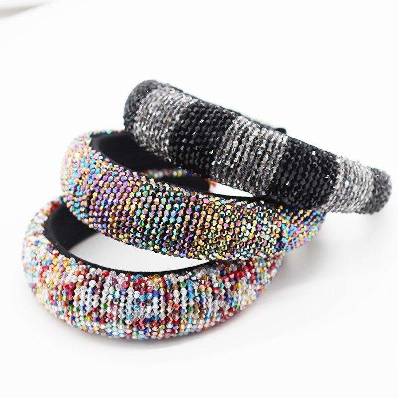Mulheres completa cristal pérola hairband strass bandana para mulheres headdress aniversário cabelo jóias
