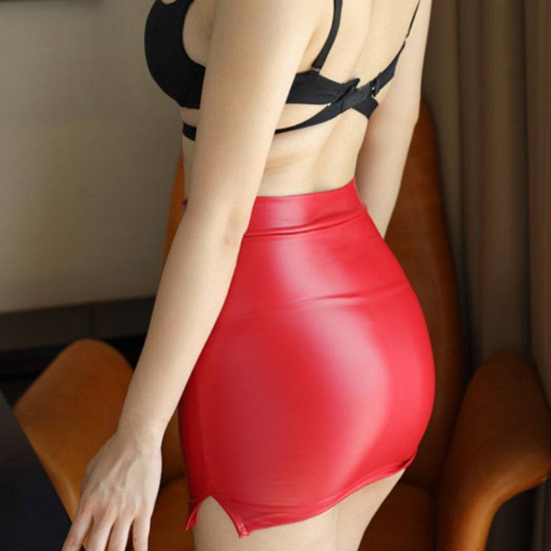 Mulheres sexy couro do plutônio mini saia lápis apertado look molhado clube ds dança wear saia fantasia erótico wear preto vermelho