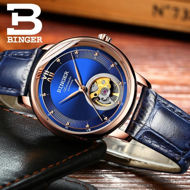 BINGER luxury luxury mechanical watch, sapphire mirror, ladies watch with automatic movement Seiko 9015