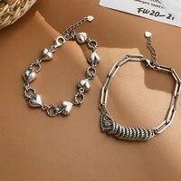 meyrroyu 925 sterling silver retro fashion braided chain love heart round bracelet ladies couple jewelry gift 2021 new
