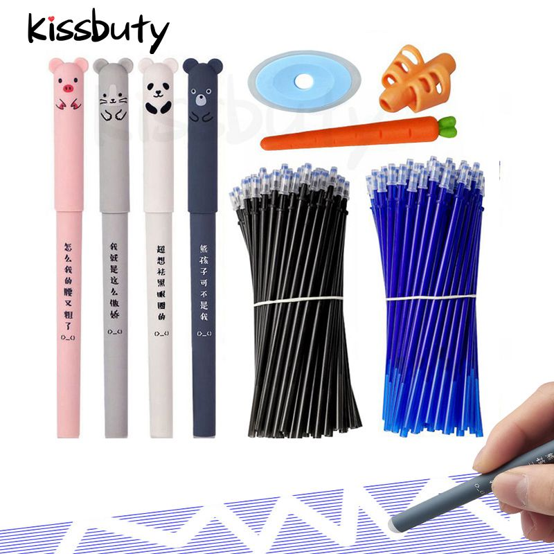 Kawaii Erasable Gel Pen Set Cartoon Animals Cute Cat Erasable Pen Erasable Refill Rod Washable Handle Pen Grip School Stationery
