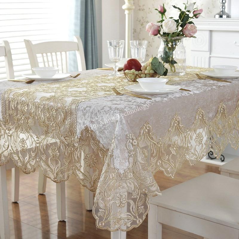 Mantel HM1868 para mesa de comedor bordado de lujo de Europa, mantel de terciopelo dorado con encaje de flores para TV
