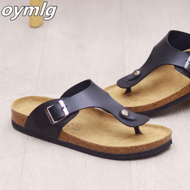 AliExpress - Big Size 12 35-45 Unisex Brand Couples Cork Flipflops Summer Clip Toe Platform Beach Slippers Buckle Belt Casual Women Sandals