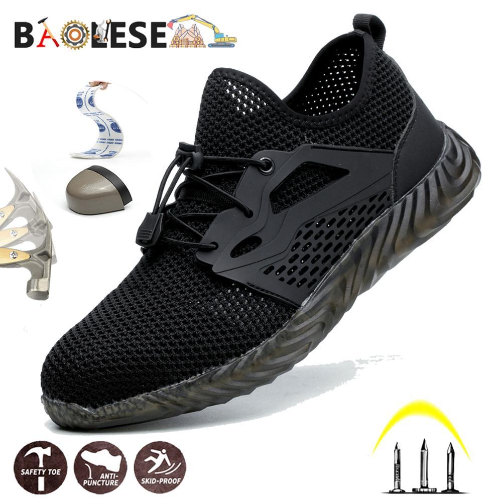 BAOLESEM الرجال أحذية أمان رجل أحذية عمل واقية غطاء الفولاذ مكافحة تحطيم الربيع تنفس أحذية عمل رجل شعبية العمل أحذية رياضية