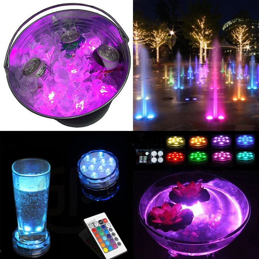 10leds RGB Underwater Submersible Led Light Waterproof Battery Operated Pond Swimming Pool Light for Vase Base,Floral,Aquarium enlarge