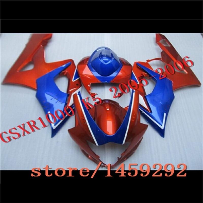 طقم انسيابية كامل لسوزوكي GSXR1000 06 ، GSXR 1000 05 ، هيكل أحمر وأزرق لسوزوكي GSXR1000 2005 - 2006 K5
